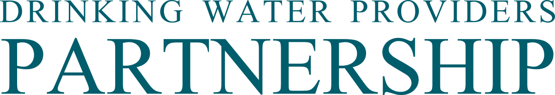Logo of teal text spelling Drinking Water Providers Partnership